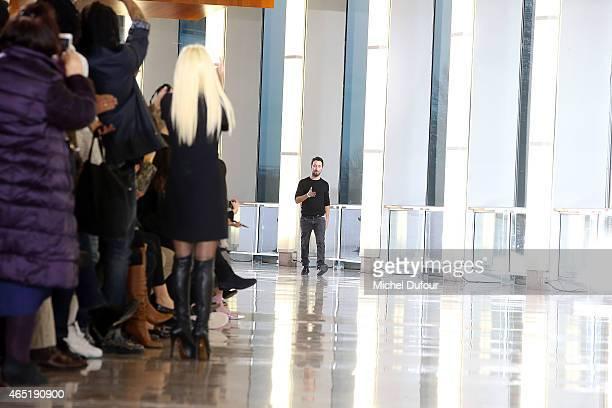 Donatella Versace and Anthony Vaccarello attend the Anthony Vaccarello show as part of the Paris Fashion Week Womenswear Fall/Winter 2015/2016 on...