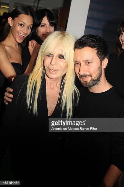 Donatella Versace and Anthony Vaccarello pose prior the Anthony Vaccarello show as part of the Paris Fashion Week Womenswear Fall/Winter 2015/2016 on...