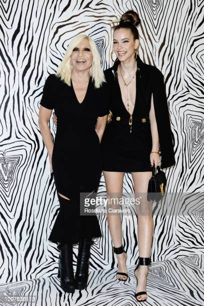 Donatella Versace and Barbara Palvin is seen backstage at the Versace fashion show on February 21 2020 in Milan Italy