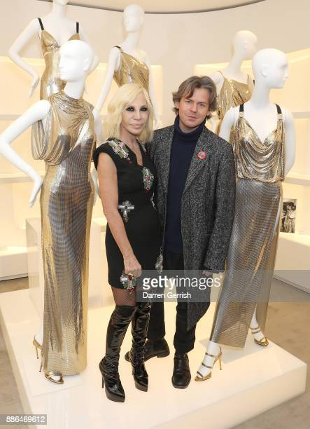 Donatella Versace and Christopher Kane attend the Versace Boutique Opening on Sloane Street on December 5 2017 in London England