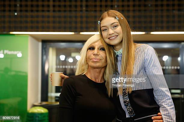 Donatella Versace and Gigi Hadid seen backstage ahead of the Versace show during Milan Fashion Week Spring/Summer 2017 on September 23, 2016 in...