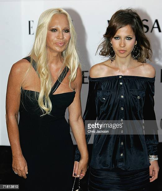Donatella Versace and her daughter Allegra Beck arrive at the Elle Magazine 21st Anniversary Party at the Versace Store on Sloane Street in London on...