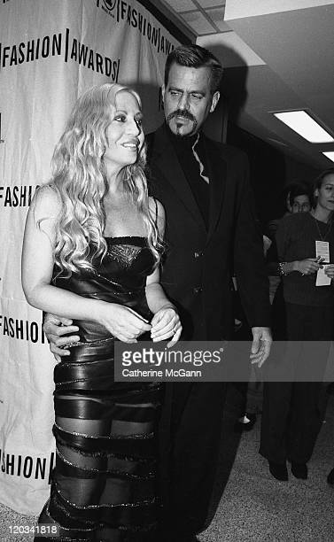 Donatella Versace and husband Paul Beck backstage at the VH1 Fashion Awards in October 1998 in New York City New York
