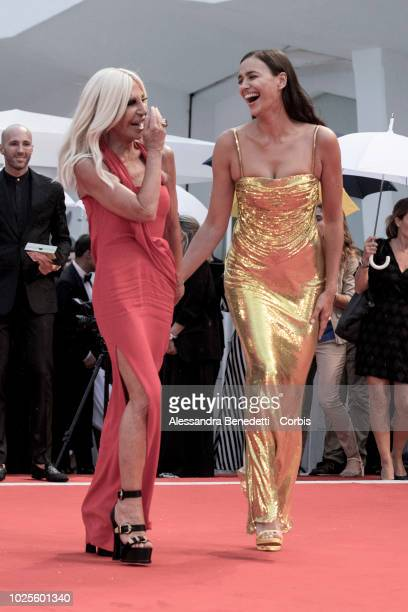 Donatella Versace and Irina Shayk walks the red carpet ahead of the 'A Star Is Born' screening during the 75th Venice Film Festival at Sala Grande on...