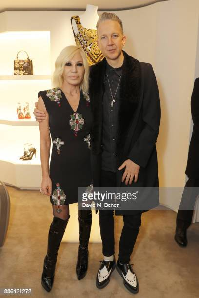 Donatella Versace and Jefferson Hack attend the launch of the new Versace Sloane Street store on December 5 2017 in London England