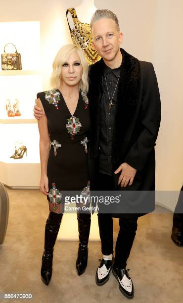 Donatella Versace and Jefferson Hack attend the Versace Boutique Opening on Sloane Street on December 5 2017 in London England