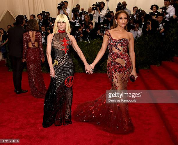 Donatella Versace and Jennifer Lopez attend the China Through The Looking Glass Costume Institute Benefit Gala at the Metropolitan Museum of Art on...