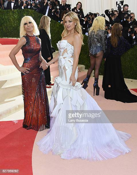 Donatella Versace and Kate Hudson attend the 'Manus x Machina Fashion In An Age Of Technology' Costume Institute Gala at Metropolitan Museum of Art...