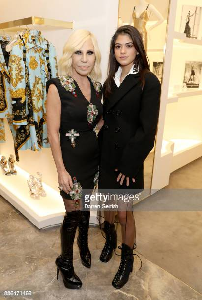 Donatella Versace and Kim Turnbull attend the Versace Boutique Opening on Sloane Street on December 5 2017 in London England