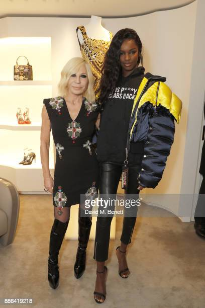 Donatella Versace and Leomie Anderson attend the launch of the new Versace Sloane Street store on December 5 2017 in London England