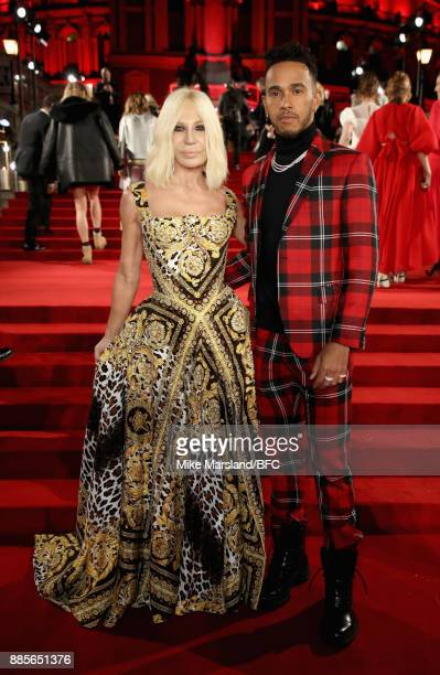 Donatella Versace and Lewis Hamilton attend The Fashion Awards 2017 in partnership with Swarovski at Royal Albert Hall on December 4 2017 in London...