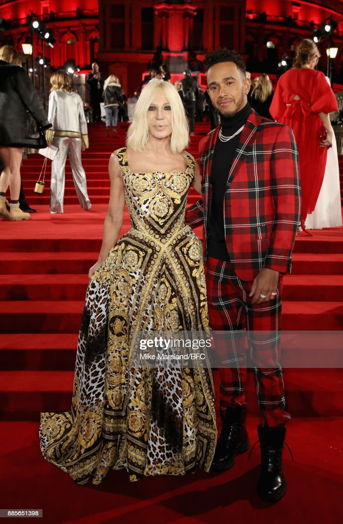 Donatella Versace and Lewis Hamilton attend The Fashion Awards 2017 in partnership with Swarovski at Royal Albert Hall on December 4, 2017 in London, England.
