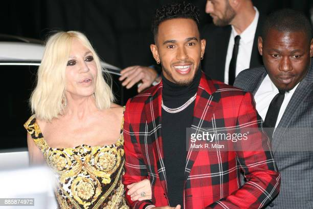 Donatella Versace and Lewis Hamilton attending The British Fashion Awards on December 3 2017 in London England