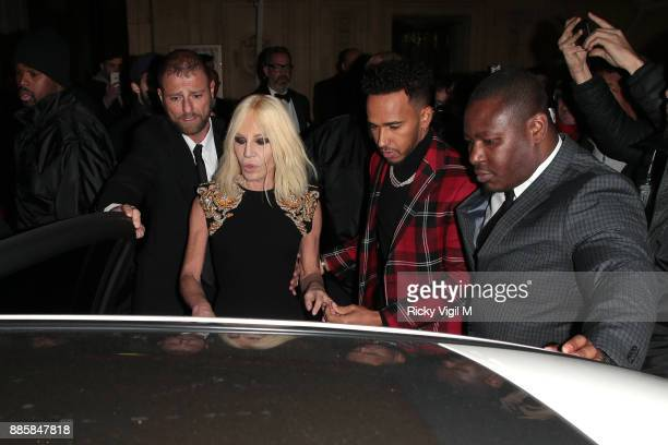 Donatella Versace and Lewis Hamilton seen leaving The Fashion Awards 2017 held at Royal Albert Hall on December 4 2017 in London England