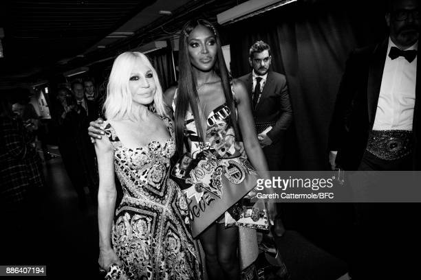 Donatella Versace and Naomi Campbell are seen backstage during The Fashion Awards 2017 in partnership with Swarovski at Royal Albert Hall on December...