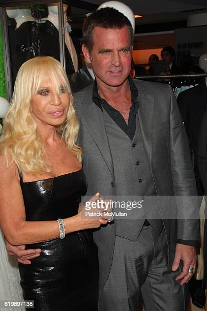 Donatella Versace and Paul Beck attend DONATELLA VERSACE celebrates the launch of VERSACE MENSWEAR at Barneys NYC on March 18 2008 in New York City