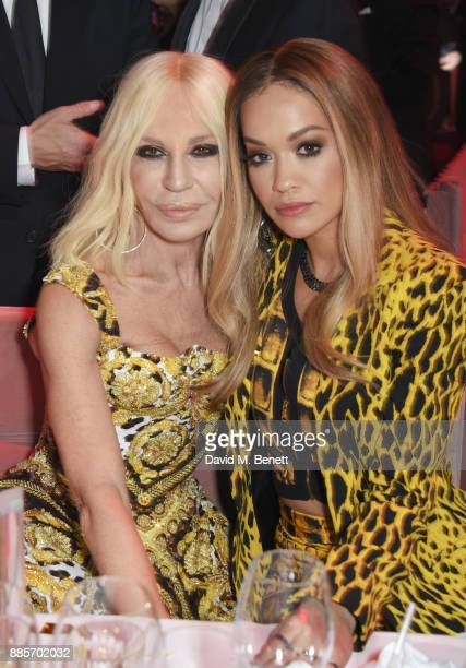 Donatella Versace and Rita Ora attend The Fashion Awards 2017 in partnership with Swarovski after party at Royal Albert Hall on December 4 2017 in...