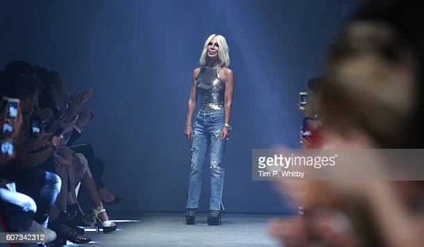 Donatella Versace appears on the runway at the VERSUS show during London Fashion Week Spring/Summer collections 2017 on September 17 2016 in London...