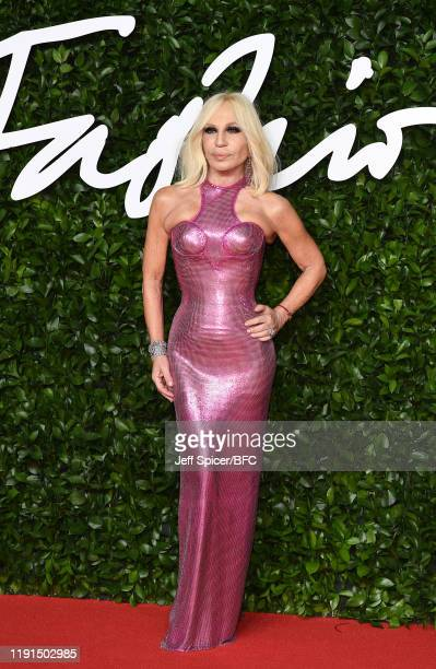 Donatella Versace arrives at The Fashion Awards 2019 held at Royal Albert Hall on December 02, 2019 in London, England.