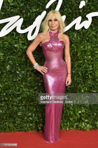 Donatella Versace arrives at The Fashion Awards 2019 held at Royal Albert Hall on December 02 2019 in London England