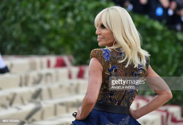 Donatella Versace arrives for the 2018 Met Gala on May 7 at the Metropolitan Museum of Art in New York The Gala raises money for the Metropolitan...