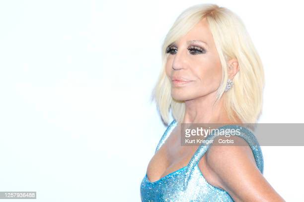 Donatella Versace arrives for the 28th Annual Elton John AIDS Foundation Academy Awards Viewing Party on February 09, 2020 in West Hollywood,...