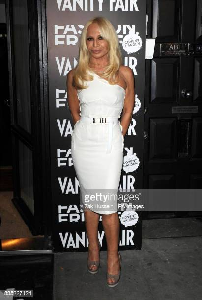 Donatella Versace arrives for the Fashion Fringe 2009 launch party at Tini in south west London