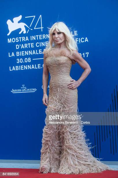 Donatella Versace attend the The Franca Sozzani Award during the 74th Venice Film Festival at Sala Giardino on September 1 2017 in Venice Italy