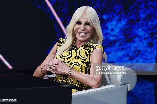 Donatella Versace attends 'Che Tempo Che Fa' tv show at Rai Milan Studios on March 4 2018 in Milan Italy