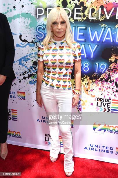 Donatella Versace attends Pride Live's 2019 Stonewall Day on June 28 2019 in New York City
