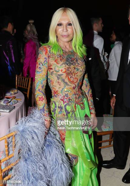 Donatella Versace attends The 2019 Met Gala Celebrating Camp: Notes on Fashion at Metropolitan Museum of Art on May 06, 2019 in New York City.