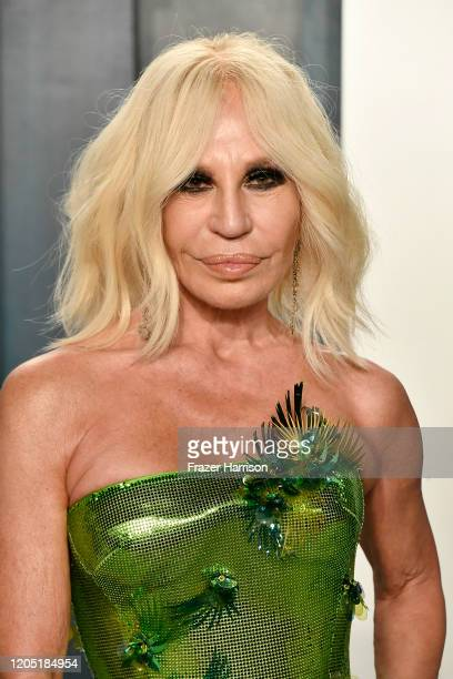 Donatella Versace attends the 2020 Vanity Fair Oscar Party hosted by Radhika Jones at Wallis Annenberg Center for the Performing Arts on February 09...