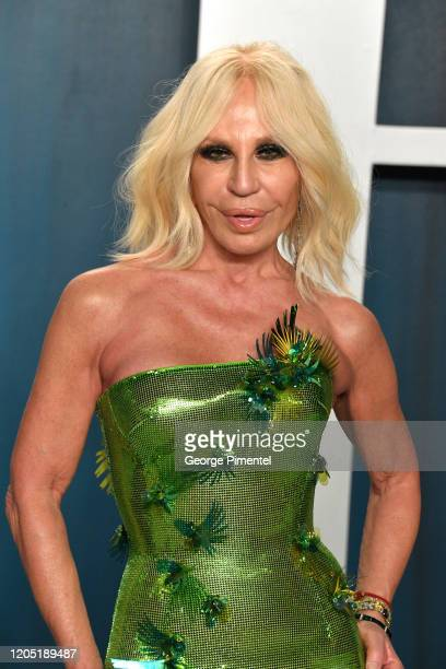 Donatella Versace attends the 2020 Vanity Fair Oscar party hosted by Radhika Jones at Wallis Annenberg Center for the Performing Arts on February 09,...