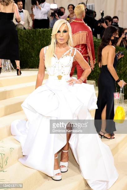 Donatella Versace attends The 2021 Met Gala Celebrating In America: A Lexicon Of Fashion at Metropolitan Museum of Art on September 13, 2021 in New...