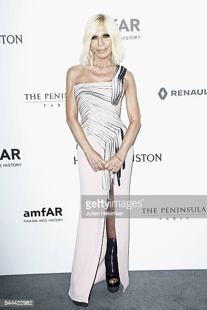 Donatella Versace attends the Amfar Paris Dinner at The Peninsula Hotel on July 3 2016 in Paris France