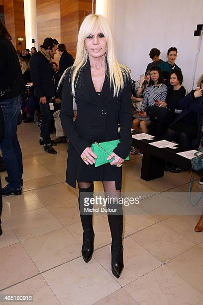 Donatella Versace attends the Anthony Vaccarello show as part of the Paris Fashion Week Womenswear Fall/Winter 2015/2016 on March 3 2015 in Paris...