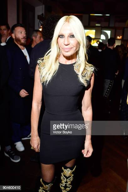 Donatella Versace attends the GQ Milan Cocktail Party during Milan Men's Fashion Week Fall/Winter 2018/19 on January 13 2018 in Milan Italy