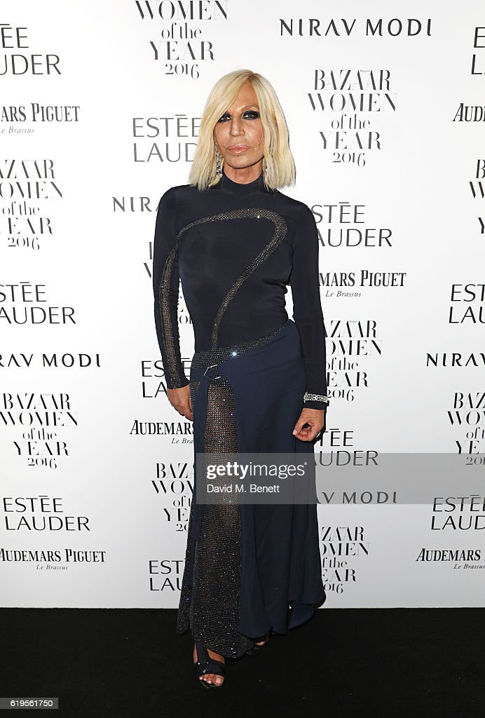 Donatella Versace attends the Harper's Bazaar Women of the Year Awards 2016 at Claridge's Hotel on October 31, 2016 in London, England.