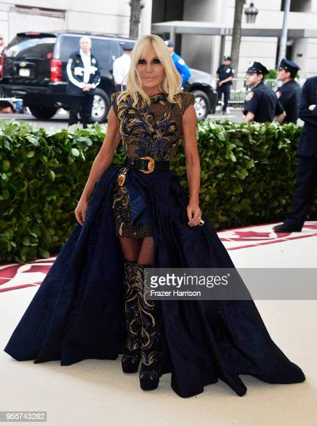 Donatella Versace attends the Heavenly Bodies Fashion The Catholic Imagination Costume Institute Gala at The Metropolitan Museum of Art on May 7 2018...