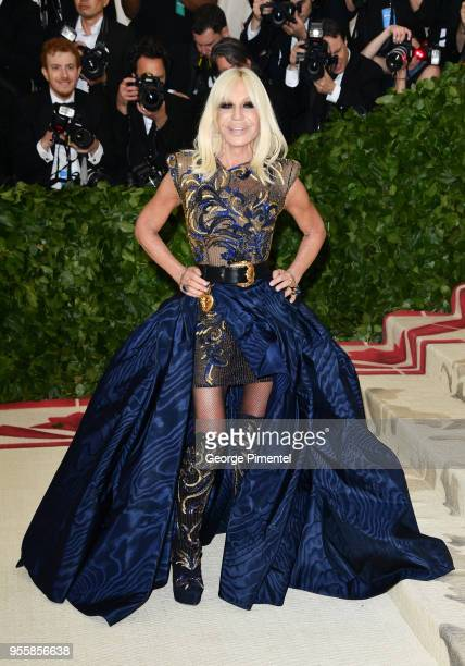 Donatella Versace attends the Heavenly Bodies Fashion The Catholic Imagination Costume Institute Gala at Metropolitan Museum of Art on May 7 2018 in...