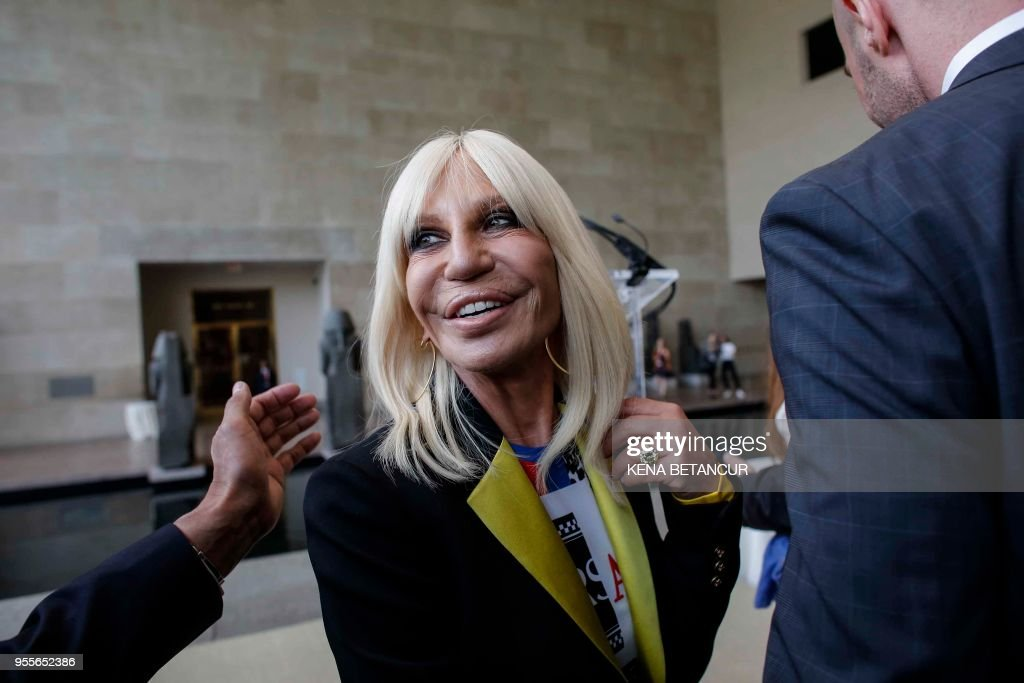 Donatella Versace attends the Press Preview for the annual fashion exhibition 'Heavenly Bodies: Fashion and the Catholic Imagination' at The Metropolitan Museum of art on May 7, 2018 in New York.