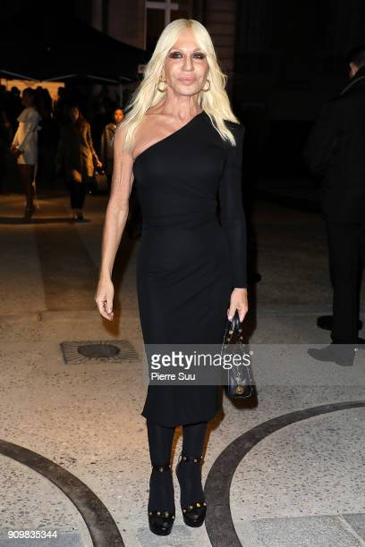 Donatella Versace attends the Valentino Haute Couture Spring Summer 2018 show as part of Paris Fashion Week on January 24 2018 in Paris France