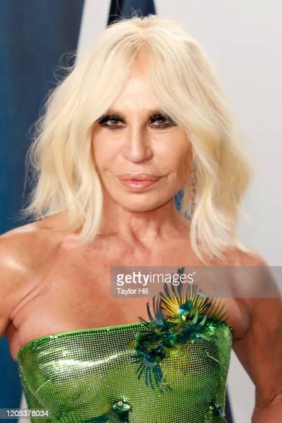 Donatella Versace attends the Vanity Fair Oscar Party at Wallis Annenberg Center for the Performing Arts on February 09, 2020 in Beverly Hills,...