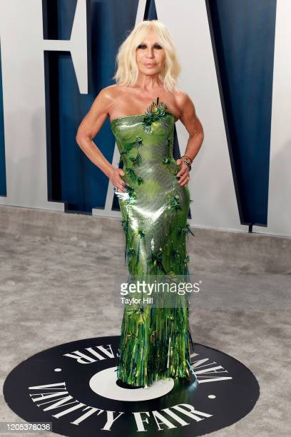 Donatella Versace attends the Vanity Fair Oscar Party at Wallis Annenberg Center for the Performing Arts on February 09 2020 in Beverly Hills...