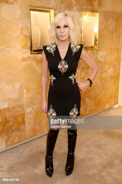 Donatella Versace attends the Versace Boutique Opening on Sloane Street on December 5 2017 in London England