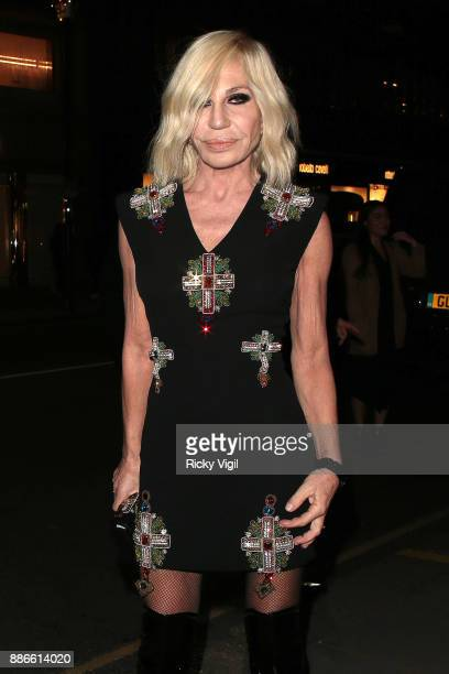 Donatella Versace attends Versace boutique opening party on December 5 2017 in London England