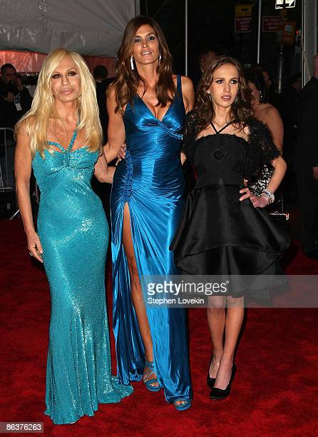 Donatella Versace Cindy Crawford and Allegra Versace attend 'The Model as Muse Embodying Fashion' Costume Institute Gala at The Metropolitan Museum...