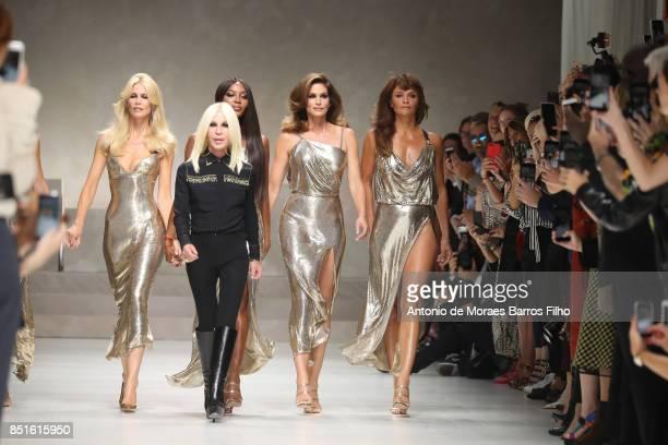 Donatella Versace, Claudia Schiffer, Naomi Campbell, Cindy Crawford, Helena Christensen walk the runway at the Versace show during Milan Fashion Week...
