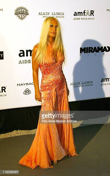 """Donatella Versace during amfAR's """"Cinema Against AIDS Cannes"""" Benefit Sponsored by Miramax and Quintessentially - Arrivals at Moulin De Mougins in..."""