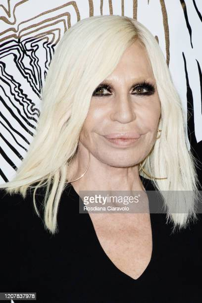 Donatella Versace is seen backstage at the Versace fashion show on February 21 2020 in Milan Italy